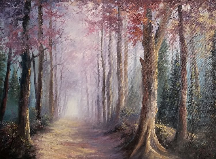 Misty Forest Trees Paint With Kevin Forest Painting Landscape Paintings Painting