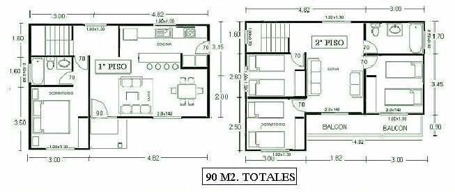 Planos de casas de dos pisos planos de casas de pisos - Casas de dos plantas sencillas ...