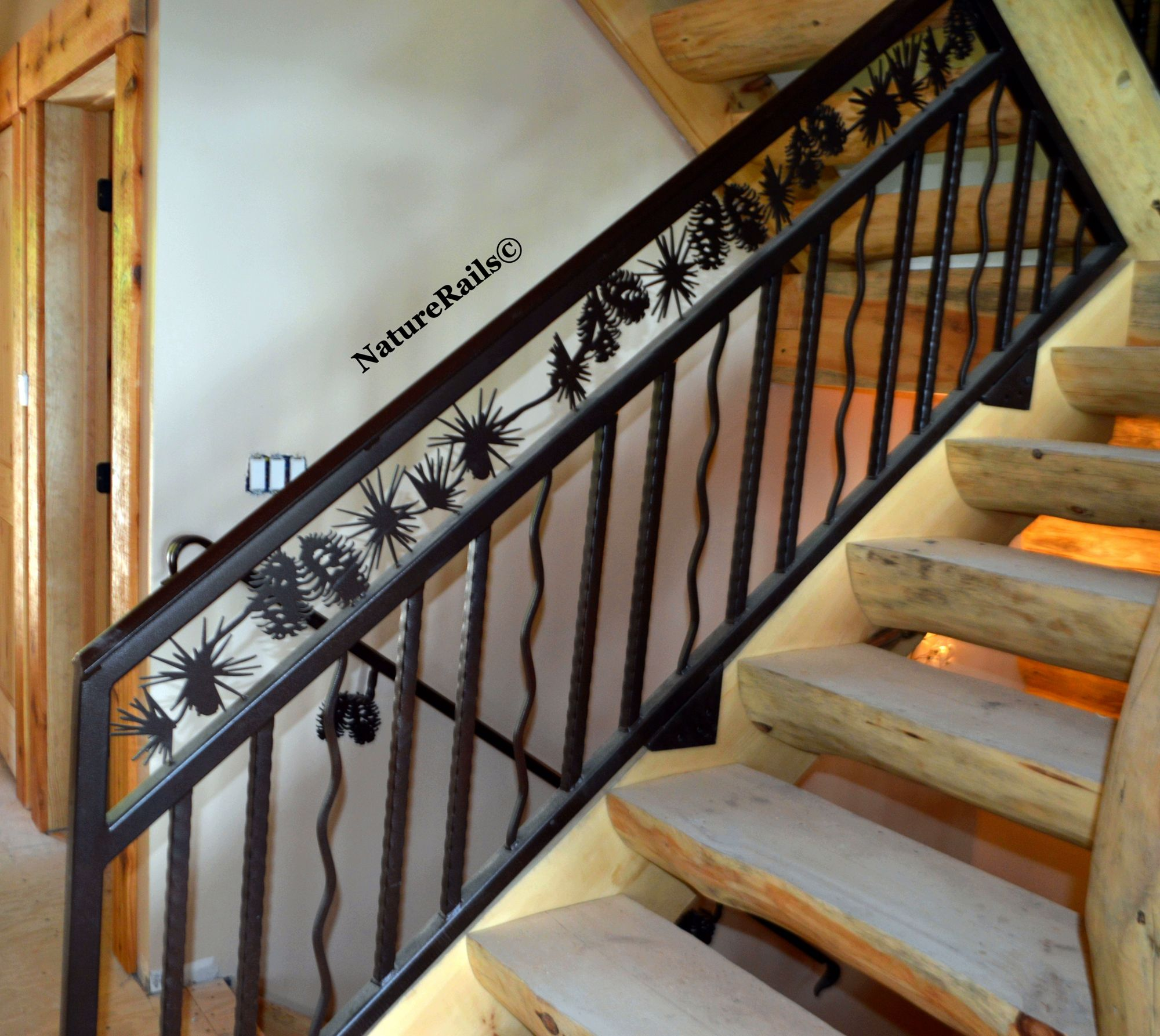 Custom Stair #railing With Spindles And Pine Cone Border. Powder Coated  Steel Means No