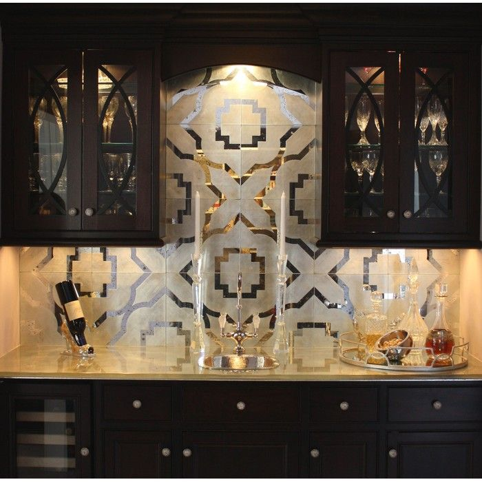 Quatrefoil In Silver, Backsplash Stained Glass By Artique Glass Studio,  Inc.: Antiqued Mirror And Silver Leafed Glass Backsplash