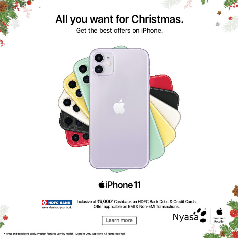 Buy your dream iPhone11 & Get inclusive of ₹6,000* CashBack on HDFC Debit & Credit Cards. T&Cs   Offer applicable on EMI & Non-EMI Transactions.Visit the store or log on to www.nyasa.info . . #Apple #iPhone #iPhoneDeals #iPhoneOffers #iPhone11 #iPhoneLovers #iPhoneFans #CashBack #Offers #Deals #ChristmasOffers #ChristmasDeals #HDFC #EMI #NonEMI #Electronics #Gifts #Christmas2019 #NyasaAppleStore