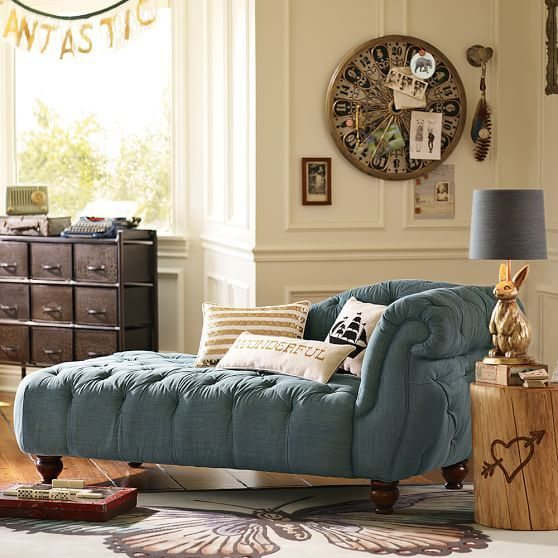 The Emily & Meritt Denim Chaise PBteen Home Studio