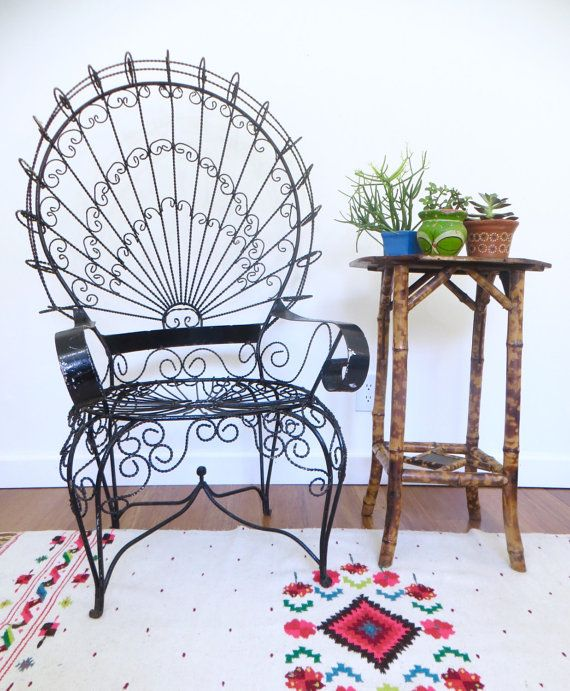 Vintage Iron Wire Peacock Chair Mexican By Scoopsvintagemodern