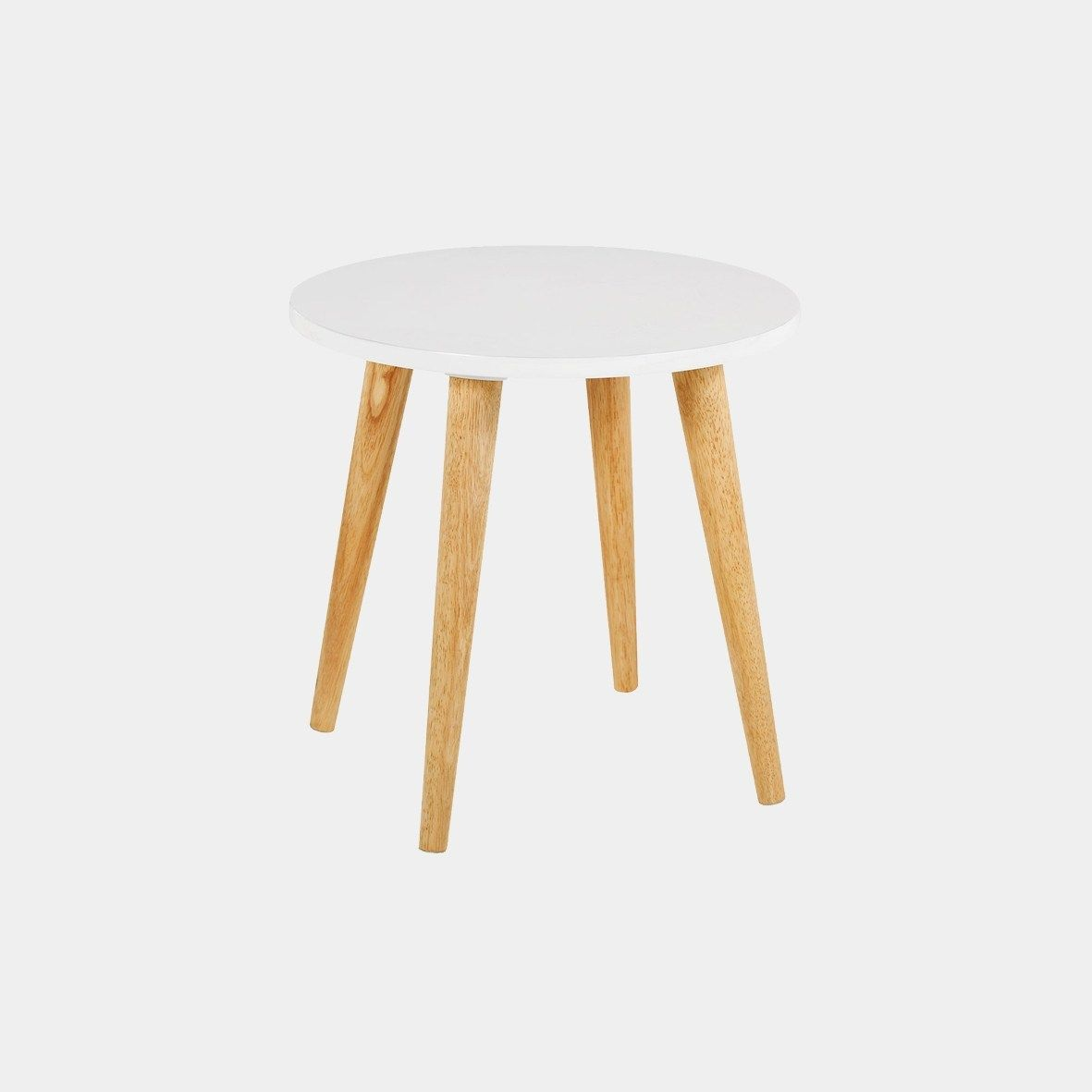 Clover White Side Table With Solid Wood Legs Manilva Online
