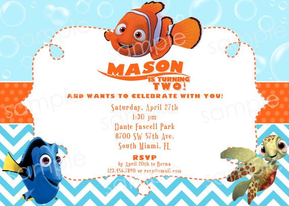 Dory And Nemo Finding Birthday Party Invitations