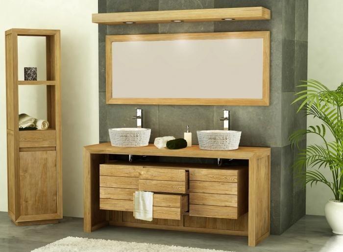 Meuble de salle de bain Groix L160 2 PORTES 2 tiroirs en teck Home