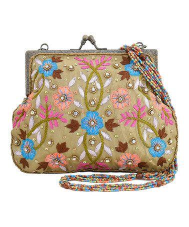 Love this Tan & Pink Floral Clutch on #zulily! #zulilyfinds