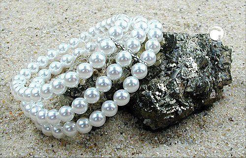 Armband, Glasperle WW, 3-reihig, Gummi 23cm -  - 4051288003876