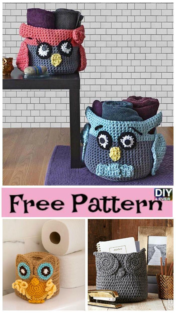 Cute Crochet Owl Basket - Free Patterns | Crochet owl basket ...