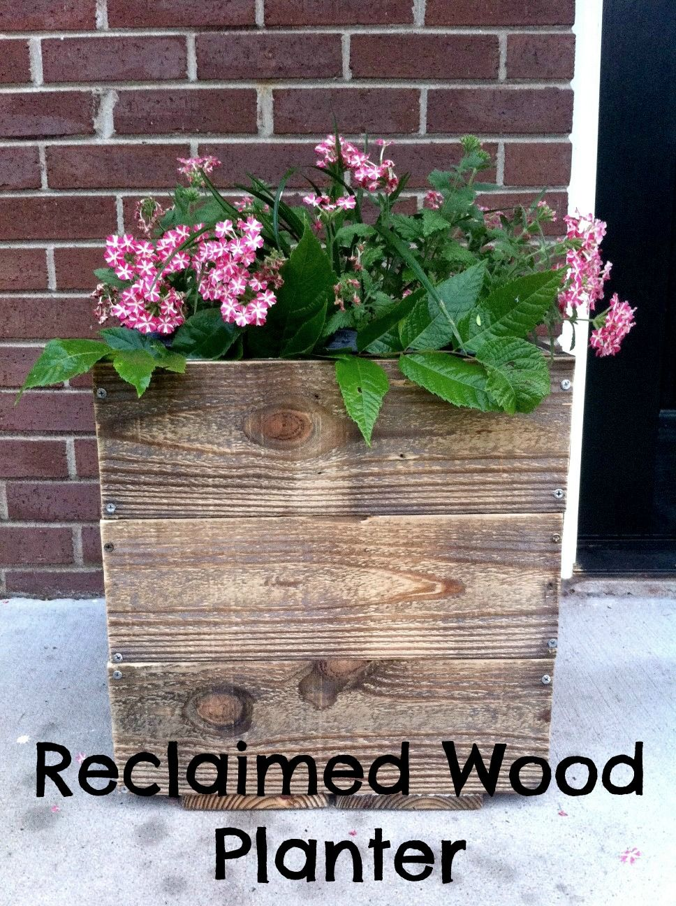 Easy reclaimed wood planter Great for curb