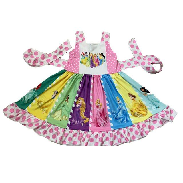 Wholesale/retail party dress baby girls cute cartoon strap dresses summer boutique kids twirl frocks _ {categoryName} - AliExpress Mobile Version -