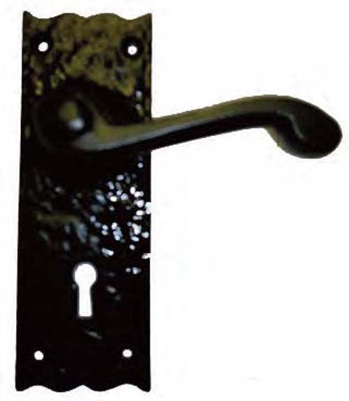 CSHL Lever Door Handle On Plain Lock Backplate - Black Antique - CSHL Lever Door Handle On Plain Lock Backplate - Black Antique