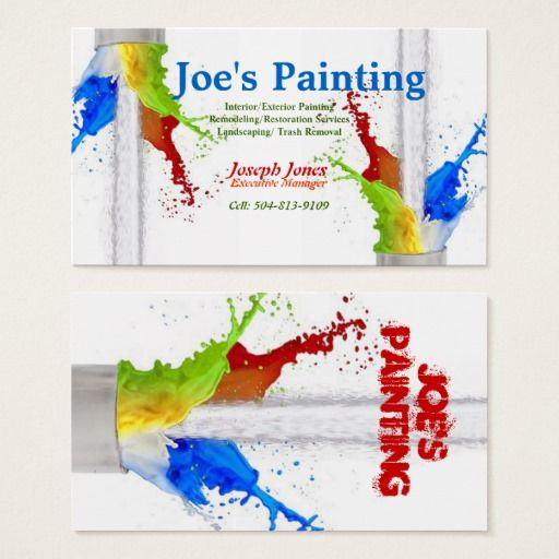 Business Card Sample Painting Series Revised Business Card Zazzle Com Painter Business Card Painted Business Cards Business Cards Creative