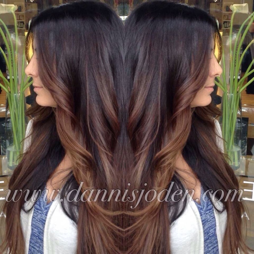 Dark Brown Melting Into Warm Chocolate Brunette Balayage Highlights