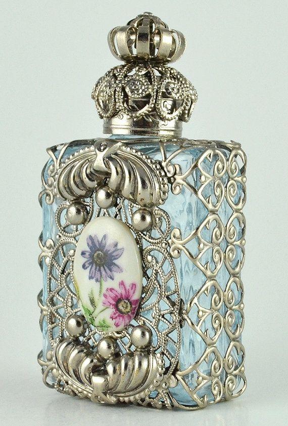 Perfume Bottle Vanity Vintage Vanity Light Blue by chicandcharm, $33.00
