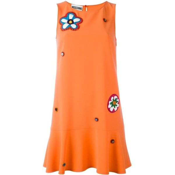 Moschino flower power dress ($715) ❤ liked on Polyvore featuring dresses, sleeveless dress, embroidery dresses, red embroidered dress, keyhole dress and red flare dress