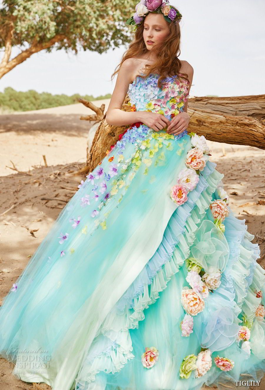 Strapless ball gown wedding dresses  TIGLILY  Wedding Dresses  Green colors Ball gowns and Neckline