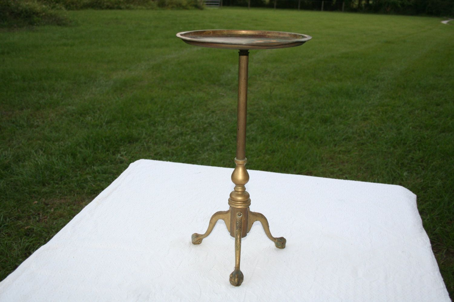 Antique Vintage Solid Brass Small Round Side Table