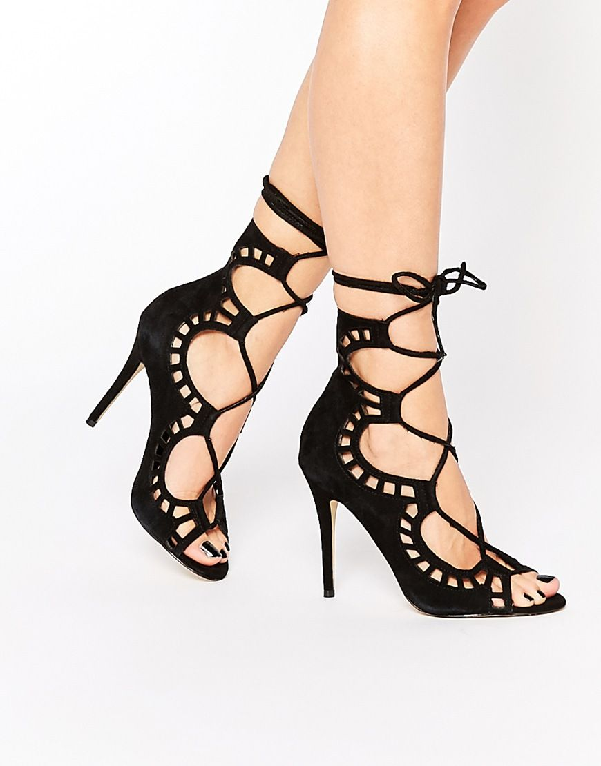 Image 1 of Windsor Smith Gillie Black Suede Tie Up Peep Toe Shoes
