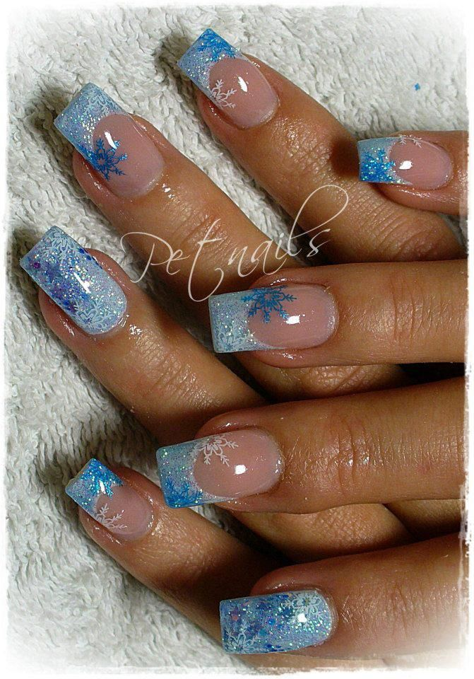 Beautiful Blue snowflake nails... for corrina | Nail | Pinterest ...
