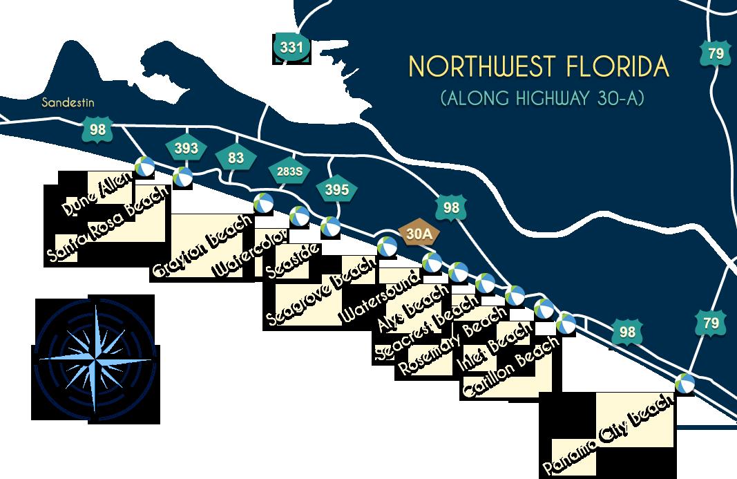 South Walton Florida Map.30a Community Map Beaches Of South Walton Fl Scenic 30a Fl