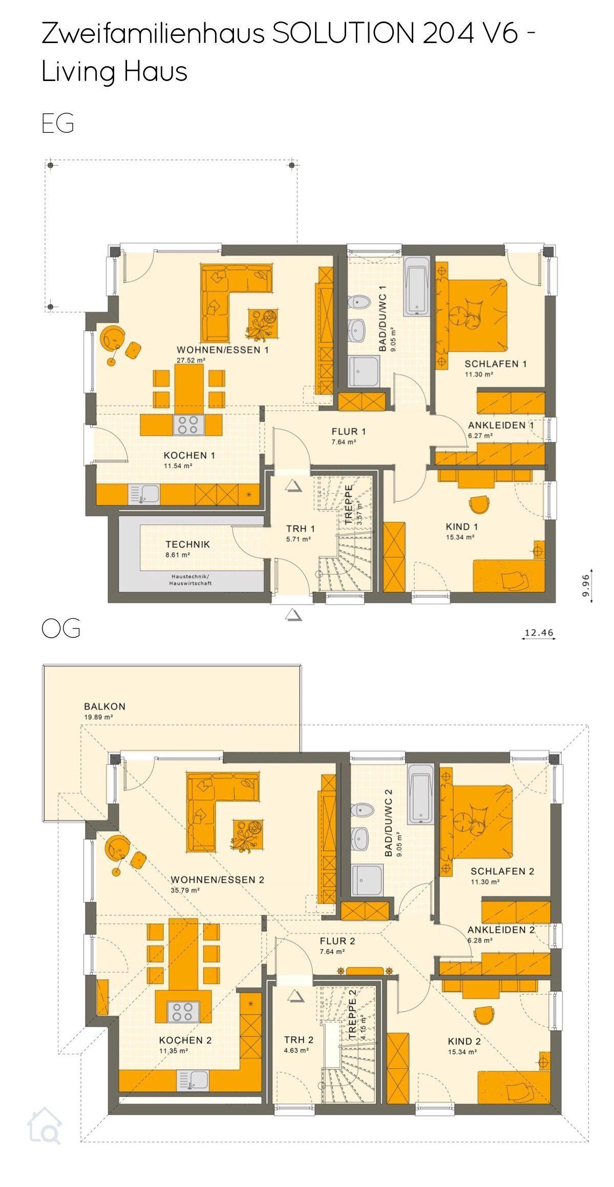 Grundriss Zweifamilienhaus als Stadtvilla mit Walmdach