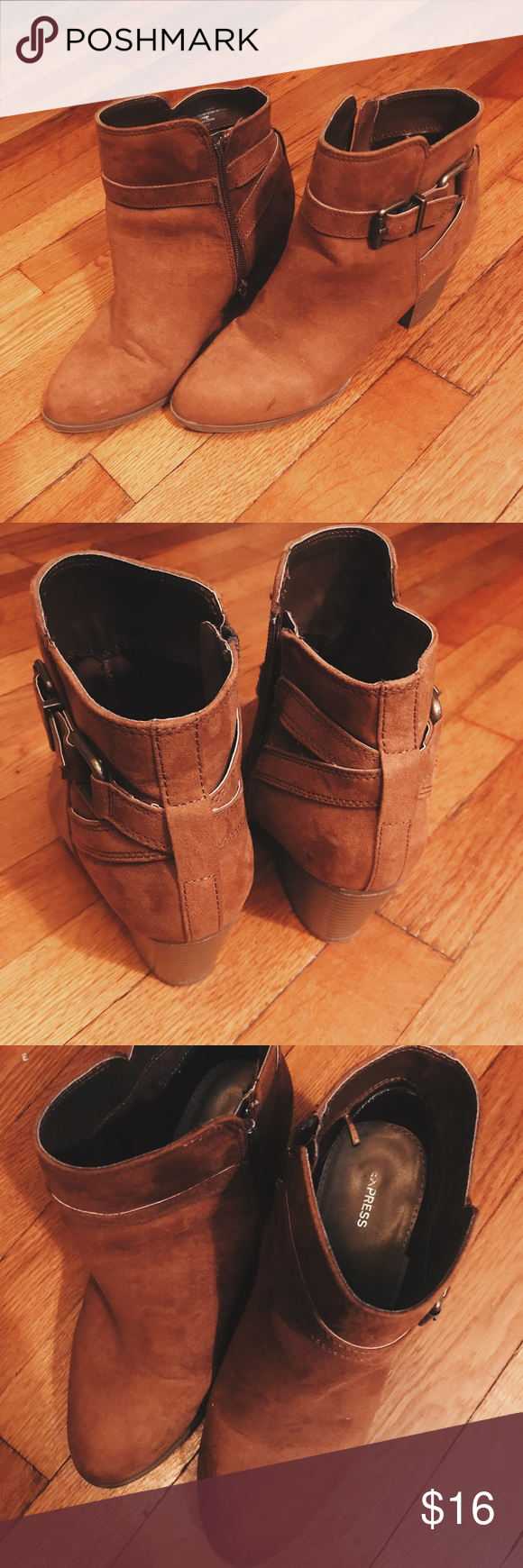 Heeled Booties Brown booties with 2 inch heel. Comfy and fashionable. Worn twice but in great condition. Express Shoes Ankle Boots & Booties