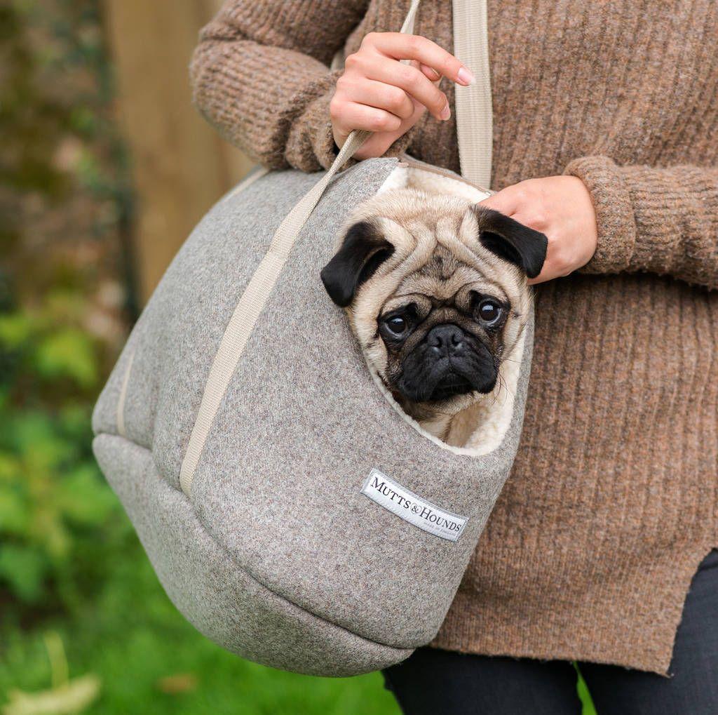 Traveling Dog Grey Tweed Dog Carrier Dog Carrier Bag Dog