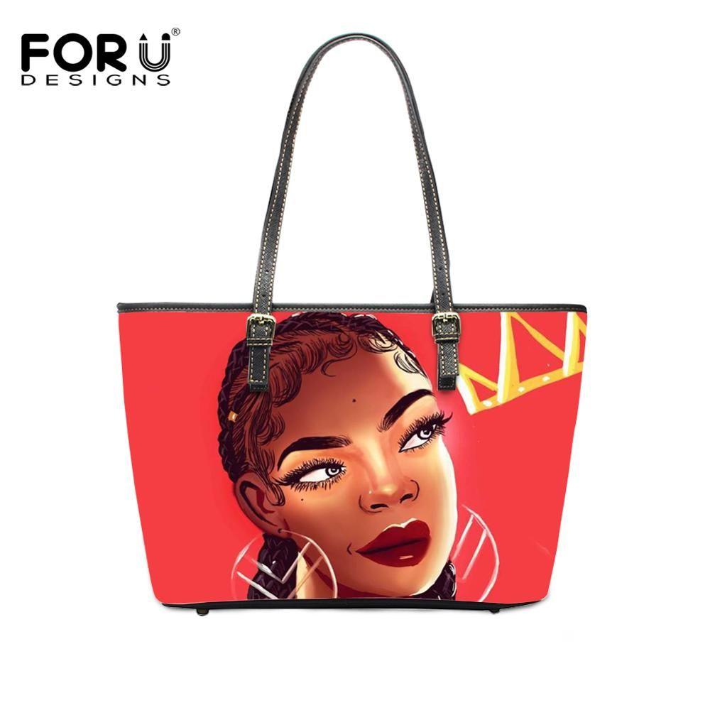 FORUDESIGNS Handbag Women Black Art African American Girls Print Large Capacity Beach Bags Ladies Ha