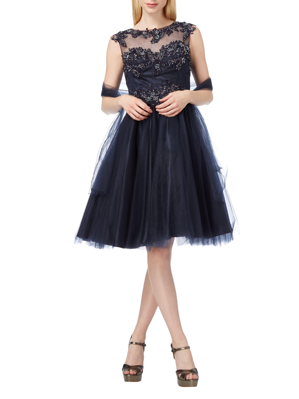 Niente - Abendkleid mit floralen Stickereien - Marineblau ...