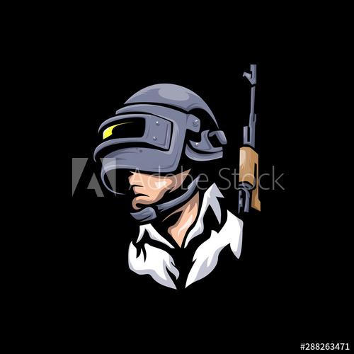 Man With Helmet E Sports Logo Pubg Player Unknown S Battlegrounds Vector Illustration Winner Winner Chicken Dinn Sports Logo Vector Illustration Pikachu Art