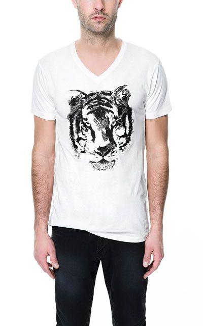Embroidered Tiger T Shirt T Shirts Man Zara United States Mens Tshirts Zara Tiger T Shirt