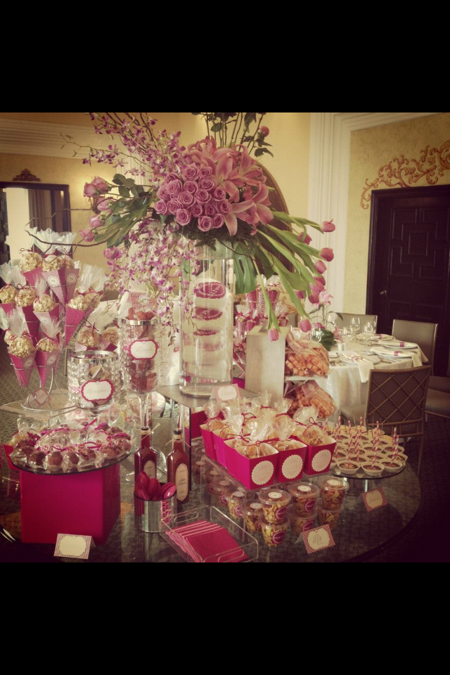 Decoracion para mesa de postres bridal showers - Decoraciones para postres ...