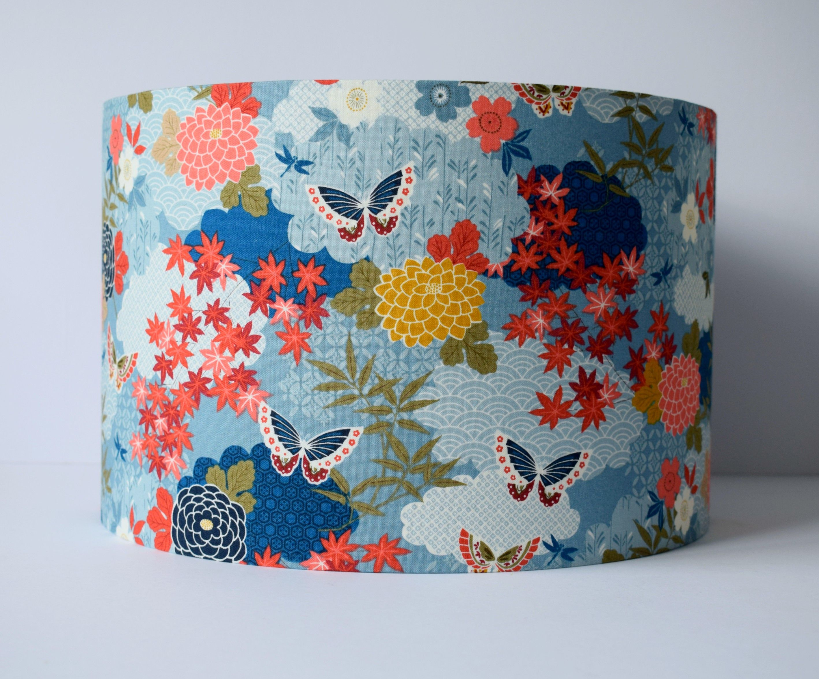 Oriental Lampshade Ceiling Japanese Home Decor Floral Lamp Shades Butterfly And Flower Light Pendant Blue Lamp