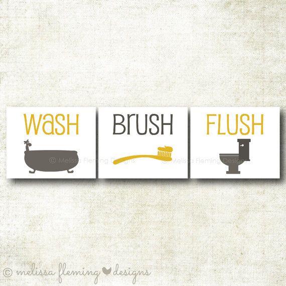 Set of three bathroom art prints wash by MelissaFlemingDesign