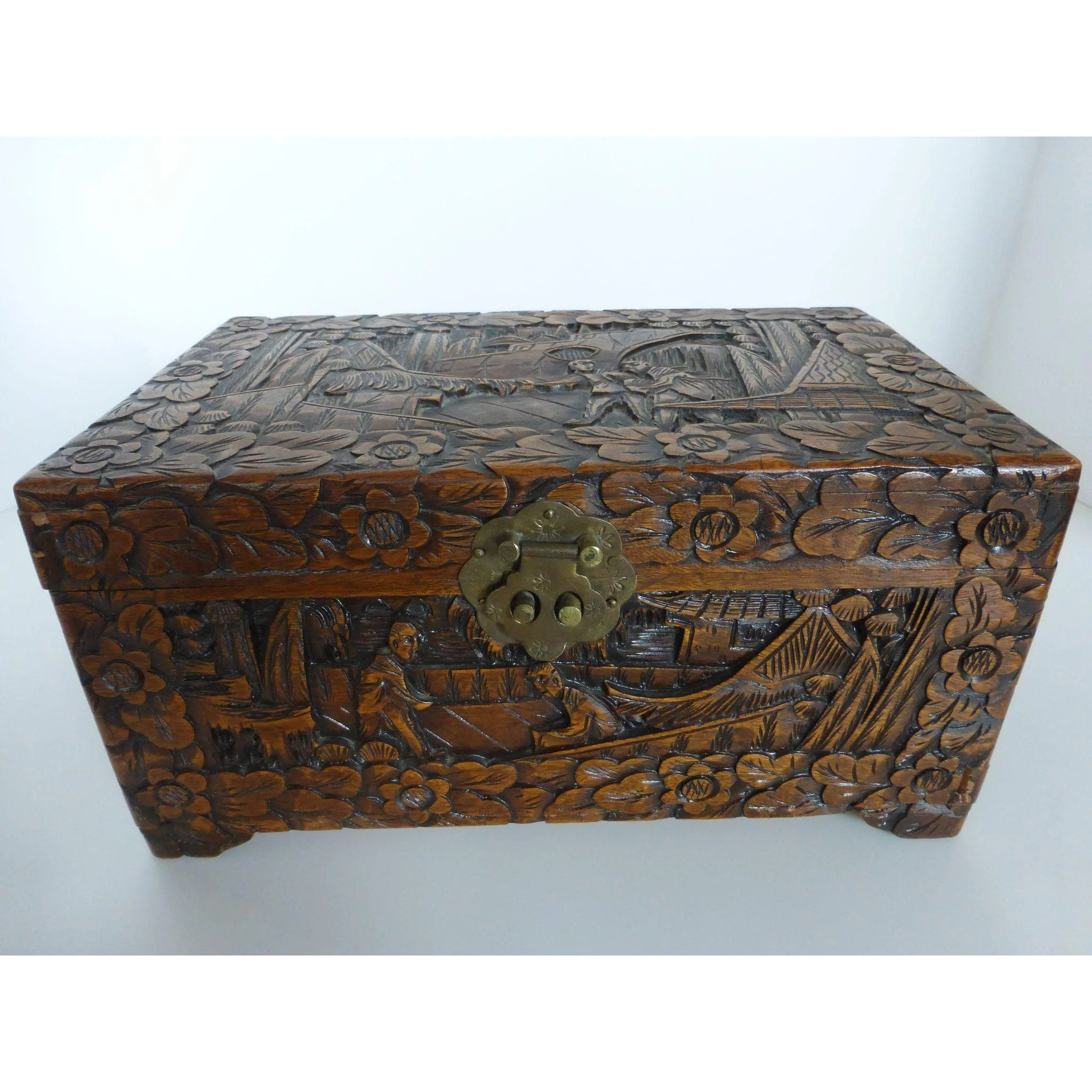 Vintage Chinese Carved Camphor Wood Jewelry Document Box Or Chest 12 Inch Wood Jewellery Antique Trunk Carving