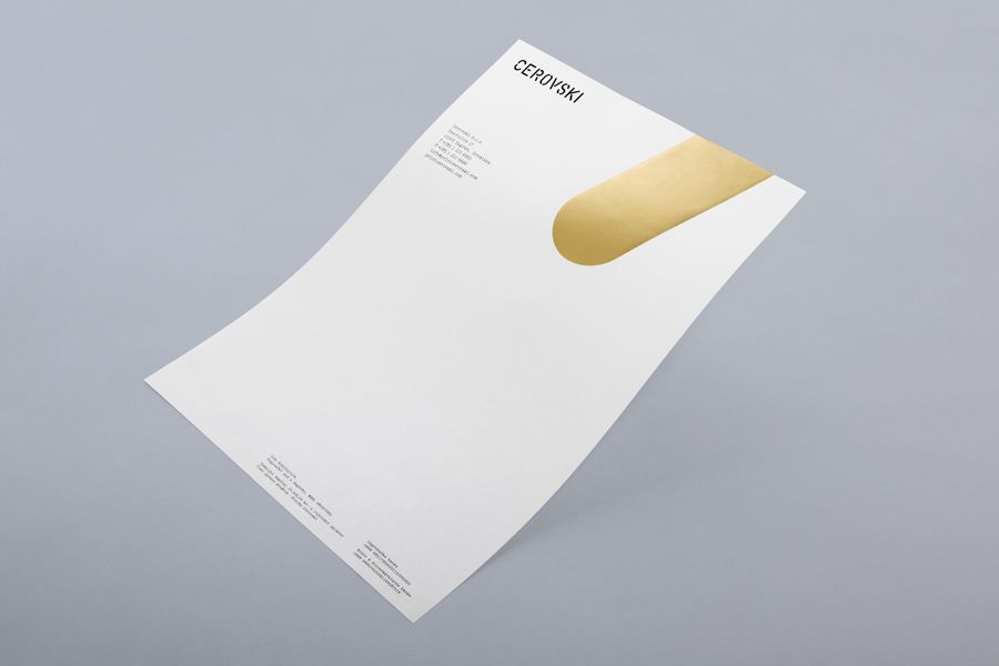 Letterhead with gold metallic ink detail for print production studio Cerovski designed by Bunch