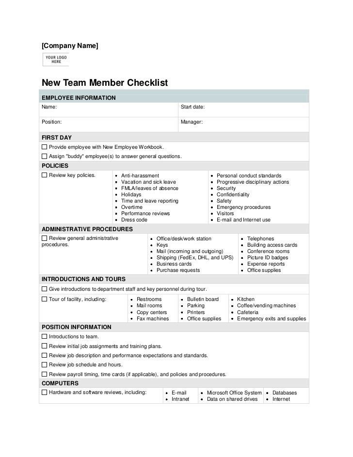 New Employee Orientation Checklist Template http\/\/itz-my - monthly performance review template