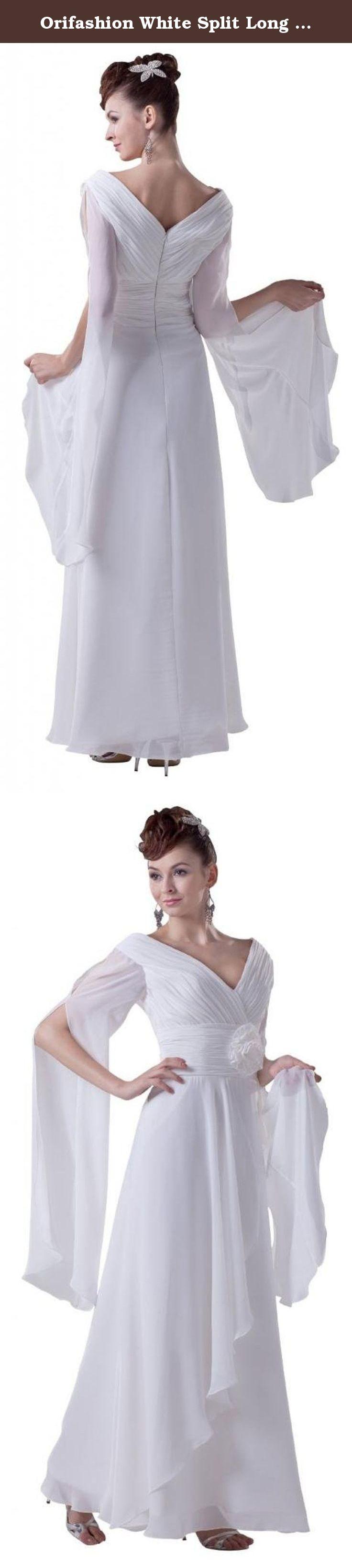 Long sleeve chiffon wedding dress  Orifashion White Split Long Sleeves Ruffle Chiffon Wedding Dress