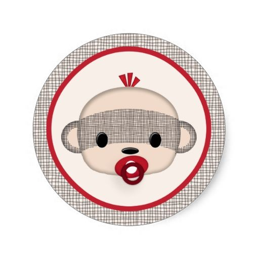 SOCK MONKEY Baby Shower Crib Seal Round BOY