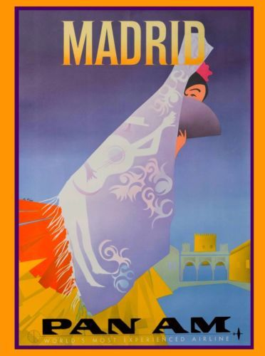 Madrid-Spain-Spanish-Senorita-Pan-American-Vintage-Travel-Advertisement-Poster