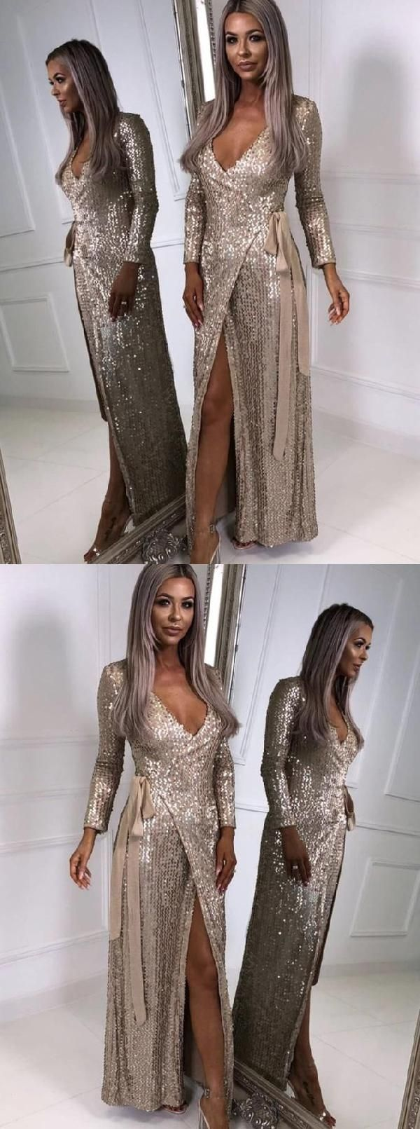 Cheap fancy long sleeves prom dresses prom dresses champagne