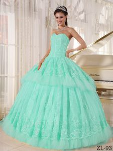 Beautiful Sweetheart Organza Appliqued for Quince Dresses in Light Blue THIS OMG THIS PLEASE
