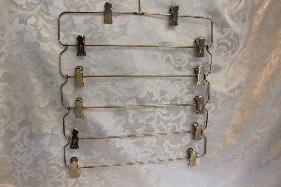 Metal Folding Hanger - Multi-Clip Skirt Hanger - Metal Hanger - Vintage Hanger - Memo Wall Hanger