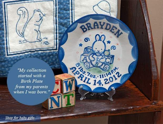 Hadley pottery personalized birth plates hadley childrens items wedding plates and house plaques are treasured for a lifetime personalized gifts hand made and painted at hadley pottery louisville ky negle Choice Image