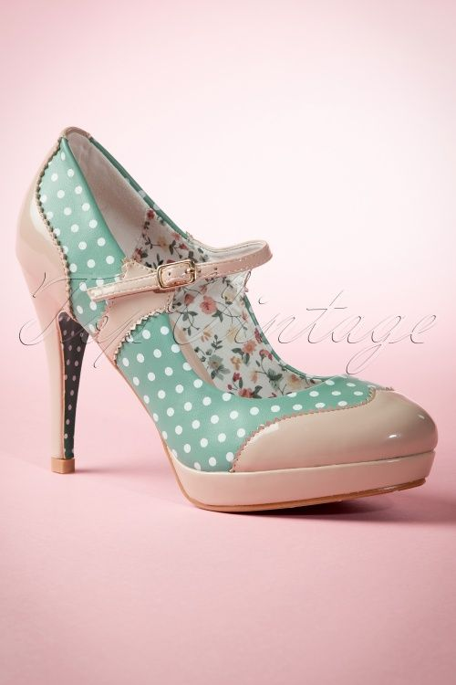 info for 49481 45ba7 50s Mary Jane Pumps in Nude and Mint | Glorious Footwear ...