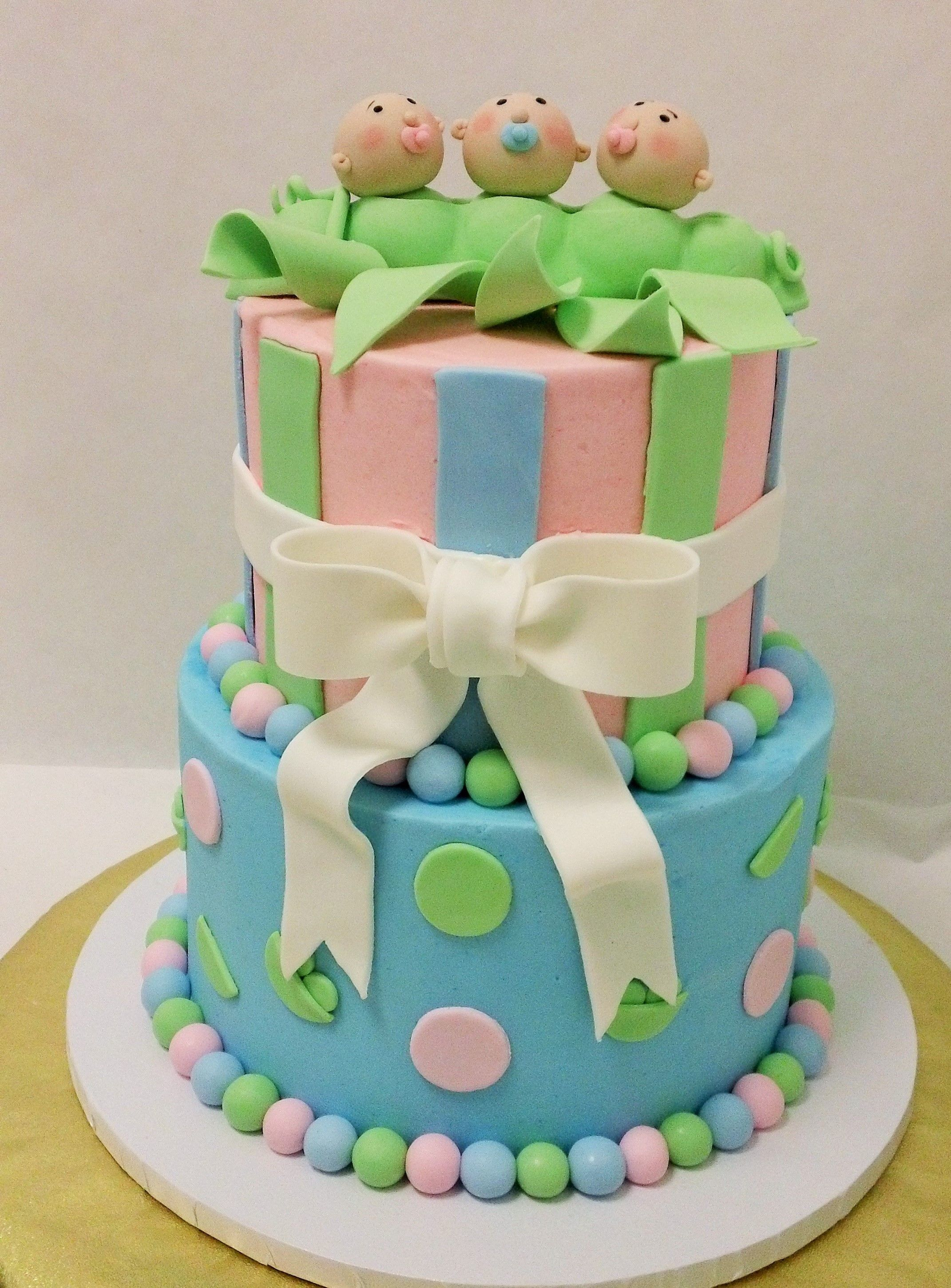 Peas In A Pod Cake Baby Shower Cake For Triplets With Images
