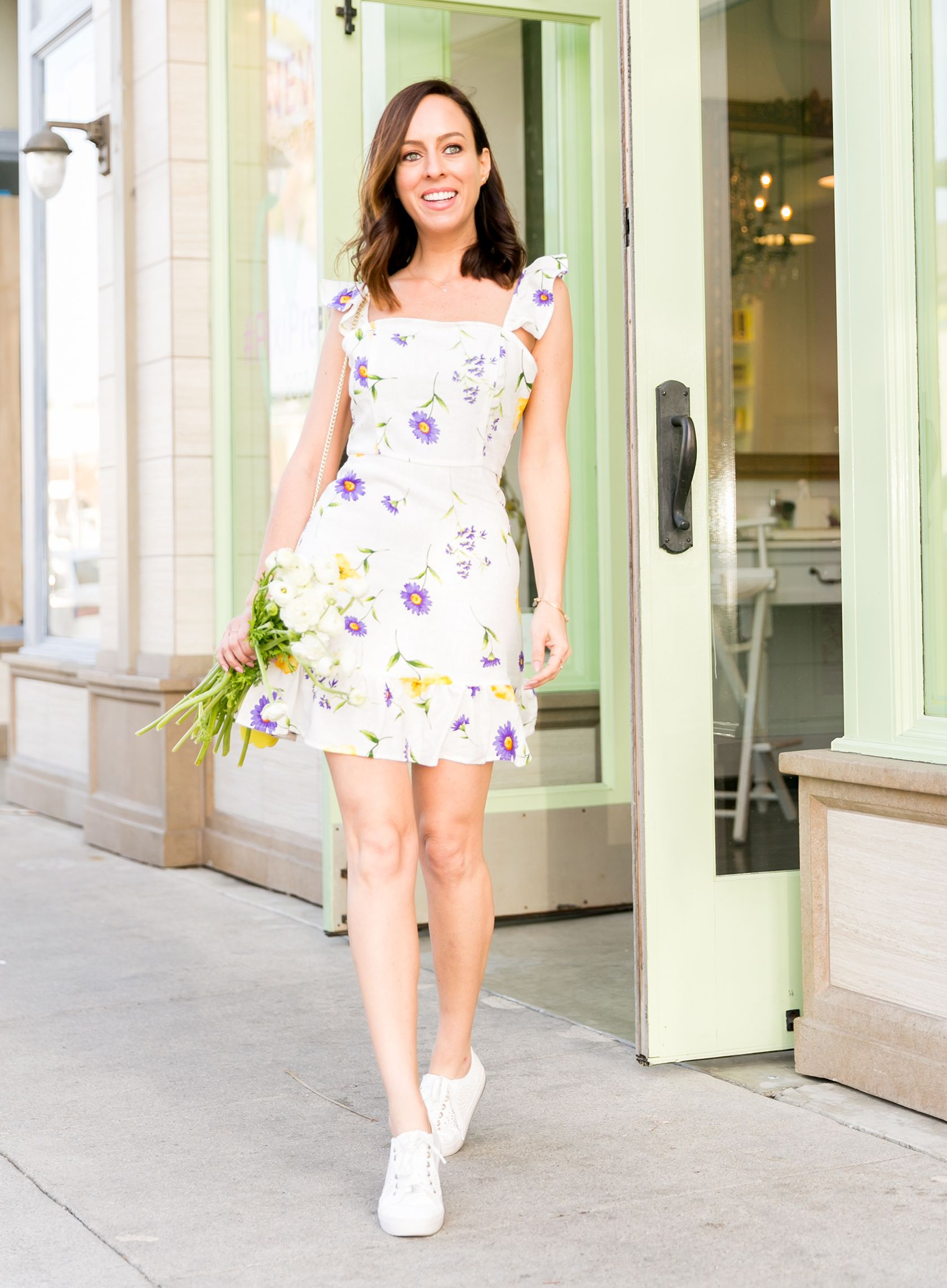842076266f3 Sydne Style shows cute outfit ideas in white sneakers with forever 21  floral dress  florals  sneakers  dresses  outfitideas