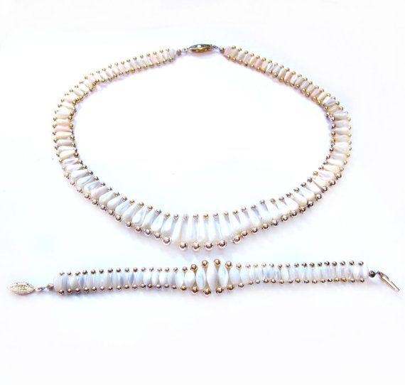 Vintage Necklace & Bracelet, Mother of Pearl Beads