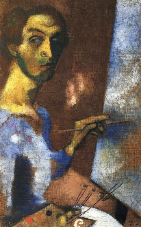 Self Portrait with Easel - Marc Chagall. Artist: Marc Chagall ...